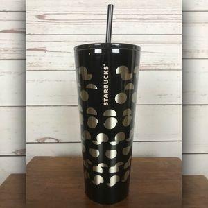 NEW Starbucks Venti Black Silver Polka Dot Tumbler